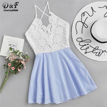 Dotfashion Open Back Criss Cross Striped Lace Panel Dress 2018 Spaghetti Strap Sleeveless Short Female Dress Cut Out Slip Dress