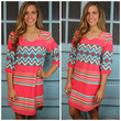 Amarillo Springs Coral Aztec Dress