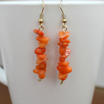 Orange Gemstone Bar Earrings. Gemstone Earrings. Stone Earrings. Delicate Earrings. Stone Chip Earrings.  Wedding Jewelry. Boho Earrings
