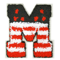 "ON SALE 15% OFF Large Chenille USa American Letter ""M"" Patch 8.5cm"