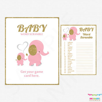 Pink and Gold Elephant Baby Shower Games, Baby Word Scramble Game, Girl Baby Shower, Pink Gold Safari Baby Shower Sign Printable EL0004-lpg