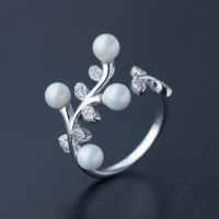 Pearl olive leaf zircon 925 sterling silver ring,a perfect gift