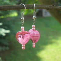 Pink Heart Earrings - Handmade Jewelry