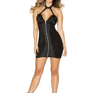 Roma 3522 Zip-up Dress with Criss-Cross Two Tone Detail