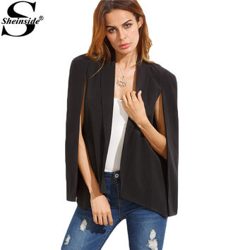 Sheinside Women Blazers and Jackets Plain Cape Blazer Shawl Collar Office Ladies Fashion Tops Lapel Dual Pockets Fitted Blazer