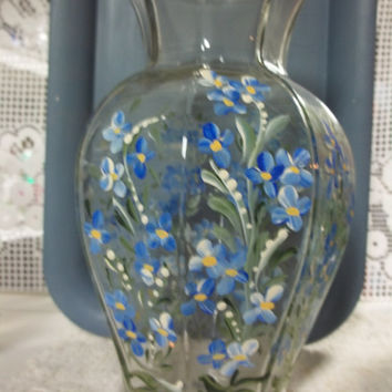 A Vintage Glass Vase Hand Painted Original Design Rosemaling Folk Art Style