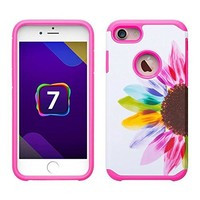 For Apple iPhone 8 Plus Case, Slim Hybrid Dual Layer[Shock/Impact Absorption] Case for iPhone 8 Plus - Vivid Sunflower