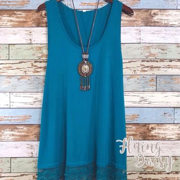 Teal Tunic Tank Top with Lace Trim