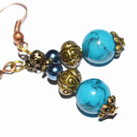 Blue bronze beaded earrings boho handcraft vintage look earrings affordable christmas holidays women gift
