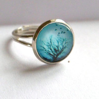 tiffany blue silver ring birds tree adjustable by LeFrenchChic