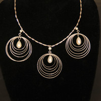 925 Fancy Italian Silver Statement Necklace Omega Necklace Three Large Pendants Drop Shape Freshwater Pearl Dangling in Multiple Circles
