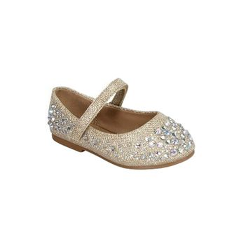 Infant Girls Glittery Dress Shoes, Champagne
