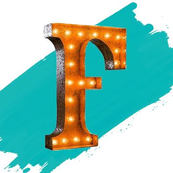 """24"""" Letter F Lighted Vintage Marquee Letters (Rustic)"""