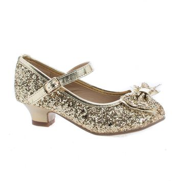 Quincy18 Gold Glitter By Sully's, Children's Girl Chunky Glitter Rock Bow Mary Jane Heels