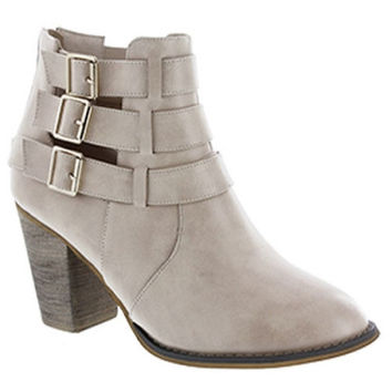"""""""Cage"""" Leather Triple Buckle Stacked Heel Booties - Nude"""