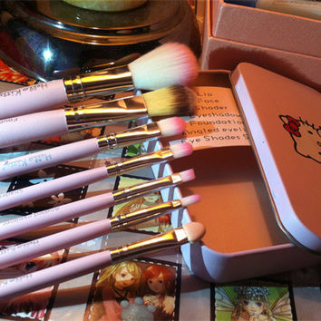 7pcs Hello Kitty Lovely Makeup Brush Set Sprout Pink Cartoon Korean Iron Box Brush