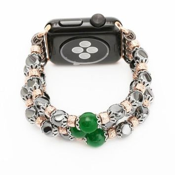 Women Wrist Watch Link Bracelet Band for Apple Watch 38/42mm Hematite Crystal Beads with Flexible Cord for Series 1/2 I229.