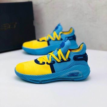 """Under Armour UA Curry 6 """"Yellow Blue"""" Toddler Kid Shoes Child Low Top Sneakers - Best Deal Online"""