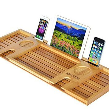 ROYAL CRAFT WOOD Natural Bamboo Bathtub Caddy Bath Tub or Serving Tray Organizer for 2: Him and Her