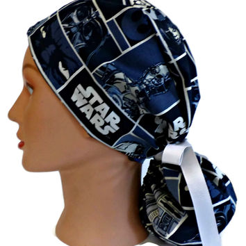 Women's Ponytail Surgical Scrub Hat in Star Wars Squares