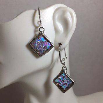 DICHROIC SQUARE Earrings, Stained Glass Earrings, stained Glass jewelry statement earrings gift for her gifts for mom wife girlfriend