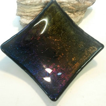 Fused multicoloured,gold,black trinket dish,tray,ring dish, key tray, dish for your dinner mints, drawing table dish, earring tray