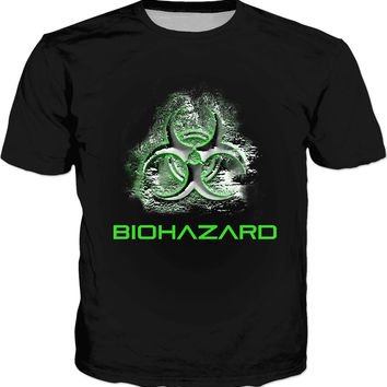 Biohazard warning classic black tee shirt design, Toxic fallout warning, bio waste symbol