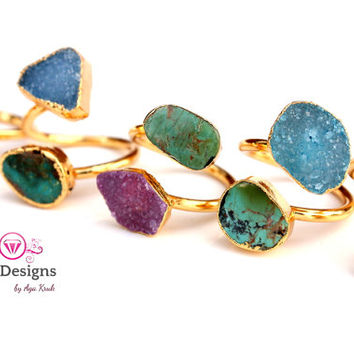 DRUZY AND TURQUOISE ring 24K Gold Plated- adjusted size - pick your design