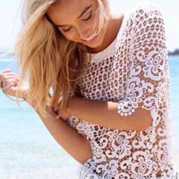 White Floral Crochet Lace Top