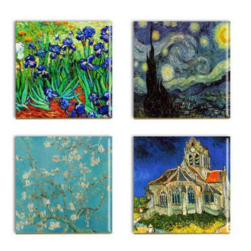 Van Gogh Ceramic Coasters Sublimated Van Gogh Decorative Art Tiles Handmade
