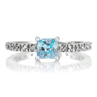 Minnie's Princess Cut CZ Promise Ring - 1 CT Aqua