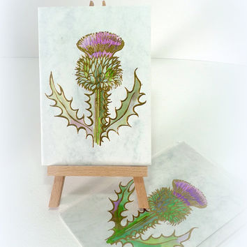 Scottish Thistle Vintage Handmade blank card Letterpress Gold embossed Watercolour Birthday Christmas New Year Thank you Made in Scotland