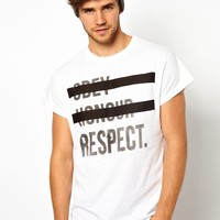 River Island T-Shirt with Honour & Obey Print