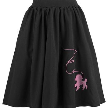 Atomic Black Rockabilly Skirt with Pink Poodle