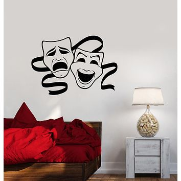 Vinyl Wall Decal Tragedy Comedy Theater Masks Stickers (3571ig)