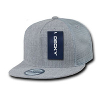 DECKY INC 5 Panel Flat Bill Mech Trucker SnapBack Hats 1063 Heather Grey