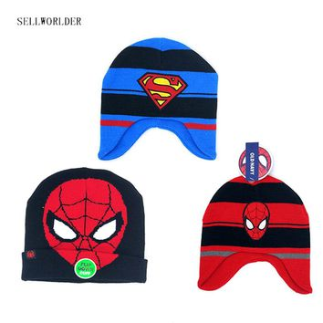 SELLWORLDER Baby Kids 2017 Winter Warm Hat Batman Superman Spiderman Cartoon Character Printed Skullies & Beanies