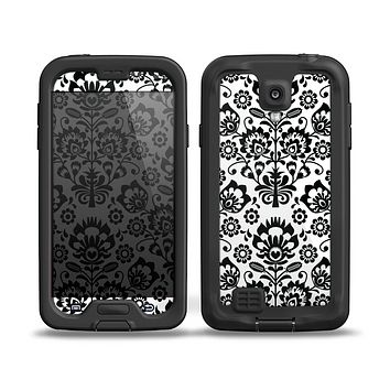 The Black Floral Delicate Pattern Skin for the Samsung Galaxy S4 frē LifeProof Case
