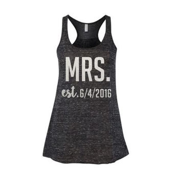Mrs. established  Bridal Tanks - Bachelorette - Pary - BrideParty - Tanks - Racerback Tank Top - Custom Shirts - Monogram Option - Bride