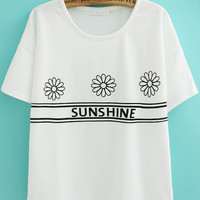 Floral SUNSHINE Graphic Print White Short Sleeve T-Shirt