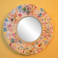 Pink, Blue Shabby Chic Roses Round China Mosaic Mirror- Pique Assiette