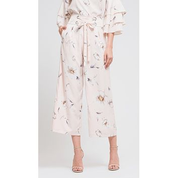 JOA Wide Leg Crop Pants Lace-Up Belt in Blush Floral Print