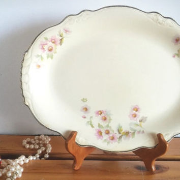 Vintage Pink Rose Vanity Tray China, Homer Virginia Rose Serving Platter, Pink Rose Plate Circa 1948