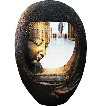 220V Lucky Furnishing Articles and Water Fountain  The Sitting Room Humidifier Southeast Asia Buddha Waterscape Home Decoration