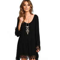 Black Cutout Floral Lace Trim Dress
