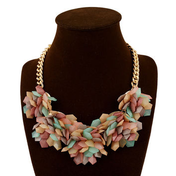 New Arrival Gift Shiny Jewelry Stylish Fashion Multi-color Geometric Crystal Gemstone Floral Necklace [6056677121]