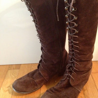 Brown Suede Leather Lace Up Boot  - steampunk, victorian, edwardian