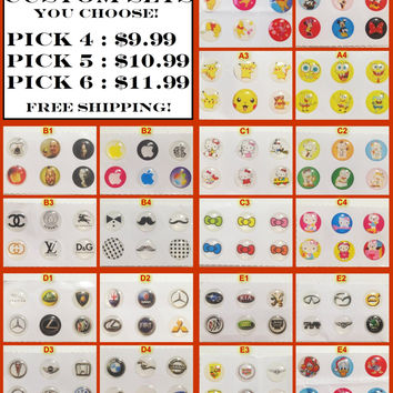 Custom Home Button Sticker Packs (24-36pcs) for iPhone/iPad/iPod iPhone6 5 4 Mickey Mouse-Disney-Pokemon-SpongeBob-Hello Kitty-Mustaches