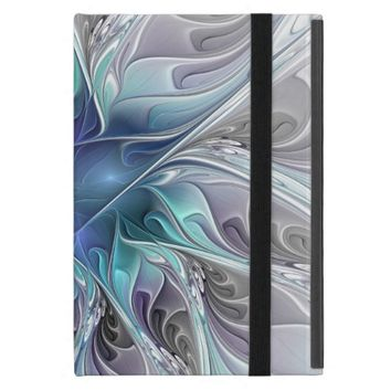 Flourish Abstract Modern Fractal Flower With Blue Cases For iPad Mini