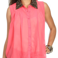 Sequin Collar Sleeveless Top | Shop Tops at Wet Seal